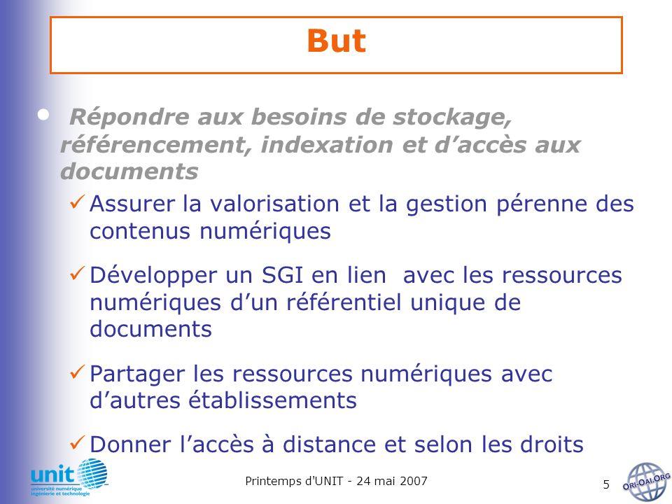Printemps d'UNIT - 24 mai 2007 5 But Répondre aux besoins de stockage, référencement, indexation et daccès aux documents Assurer la valorisation et la
