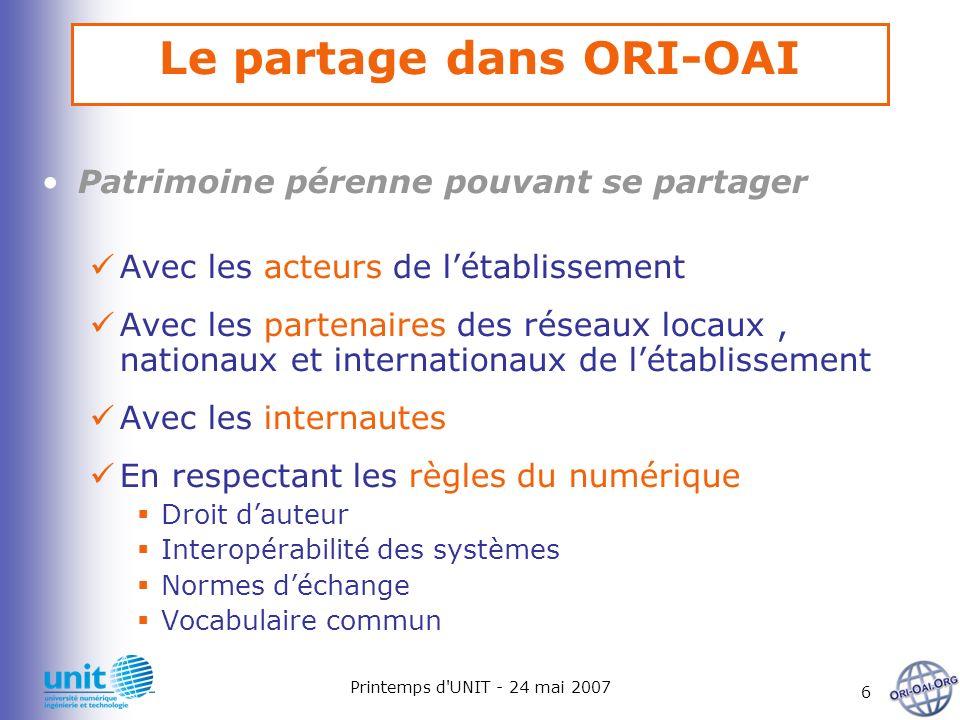 Printemps d'UNIT - 24 mai 2007 6 Le partage dans ORI-OAI Patrimoine pérenne pouvant se partager Avec les acteurs de létablissement Avec les partenaire