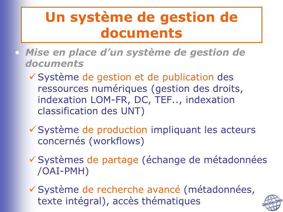 Un système de gestion de documents Mise en place dun système de gestion de documents Système de gestion et de publication des ressources numériques (g