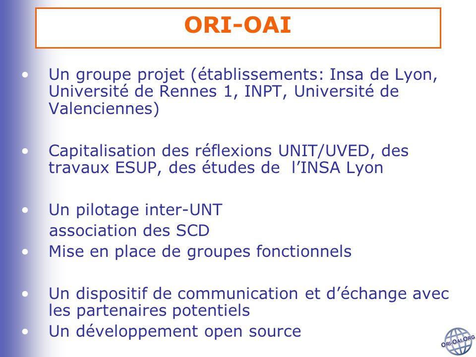 ORI-OAI Un groupe projet (établissements: Insa de Lyon, Université de Rennes 1, INPT, Université de Valenciennes) Capitalisation des réflexions UNIT/U