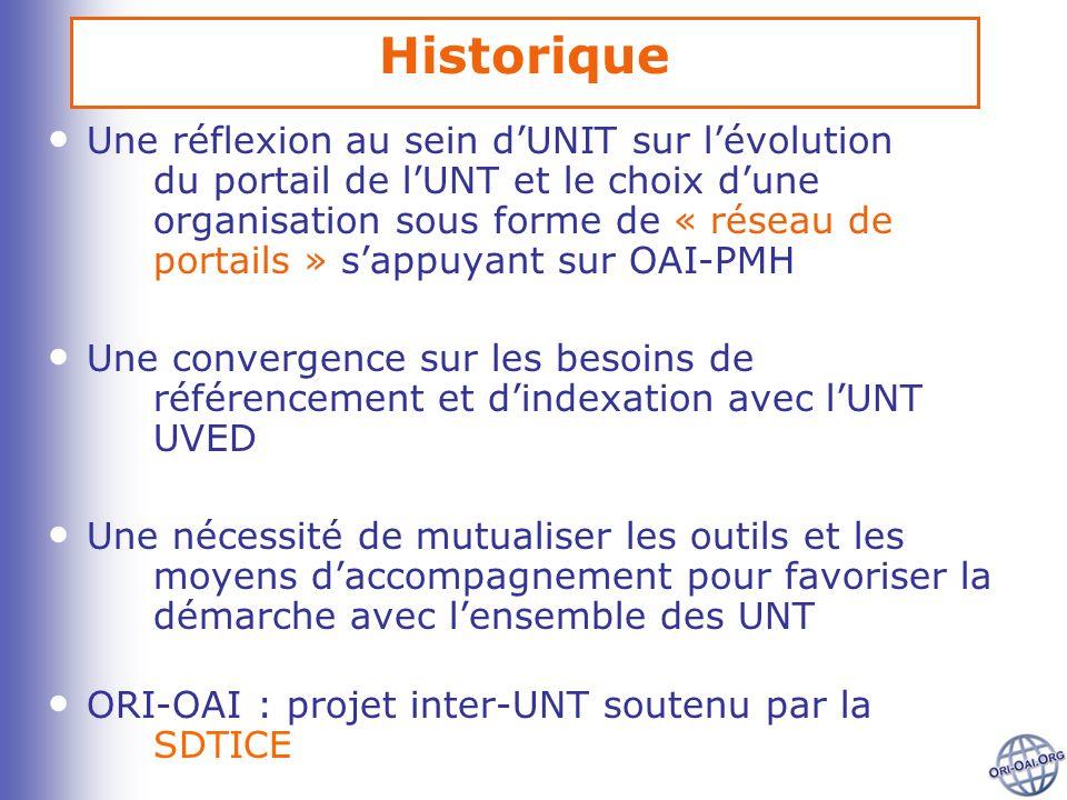 Historique Une réflexion au sein dUNIT sur lévolution du portail de lUNT et le choix dune organisation sous forme de « réseau de portails » sappuyant