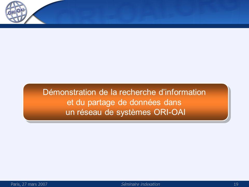 Paris, 27 mars 2007Séminaire indexation19 Démonstration de la recherche dinformation et du partage de données dans un réseau de systèmes ORI-OAI Démonstration de la recherche dinformation et du partage de données dans un réseau de systèmes ORI-OAI