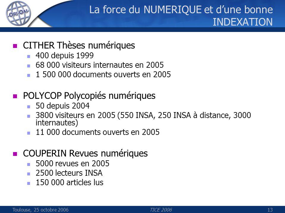 Toulouse, 25 octobre 2006TICE 200613 La force du NUMERIQUE et dune bonne INDEXATION CITHER Thèses numériques 400 depuis 1999 68 000 visiteurs internautes en 2005 1 500 000 documents ouverts en 2005 POLYCOP Polycopiés numériques 50 depuis 2004 3800 visiteurs en 2005 (550 INSA, 250 INSA à distance, 3000 internautes) 11 000 documents ouverts en 2005 COUPERIN Revues numériques 5000 revues en 2005 2500 lecteurs INSA 150 000 articles lus