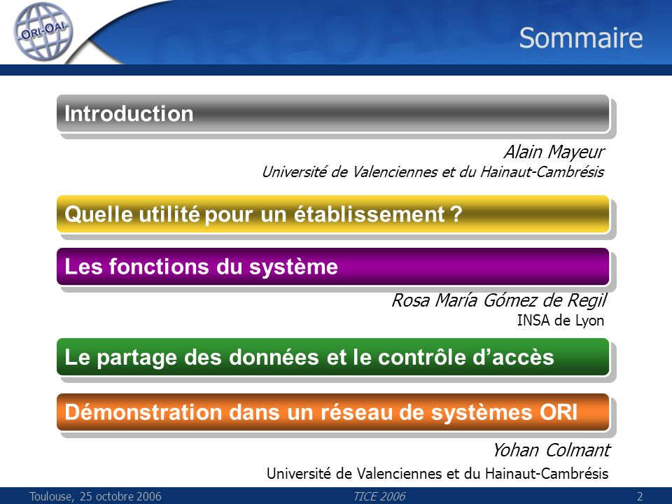 TICE 20062 Sommaire Les fonctions du système Les fonctions du système Le partage des données et le contrôle daccès Démonstration dans un réseau de systèmes ORI Yohan Colmant Université de Valenciennes et du Hainaut-Cambrésis Quelle utilité pour un établissement .