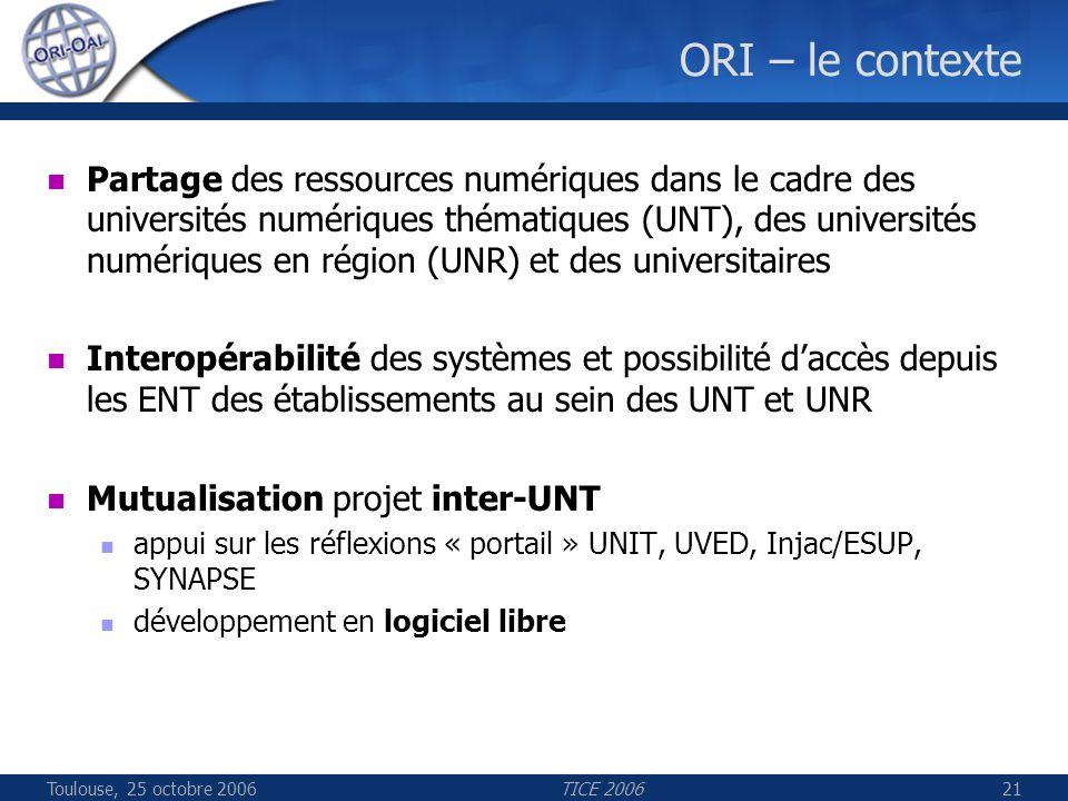 Toulouse, 25 octobre 2006TICE 200621 ORI – le contexte Partage des ressources numériques dans le cadre des universités numériques thématiques (UNT), des universités numériques en région (UNR) et des universitaires Interopérabilité des systèmes et possibilité daccès depuis les ENT des établissements au sein des UNT et UNR Mutualisation projet inter-UNT appui sur les réflexions « portail » UNIT, UVED, Injac/ESUP, SYNAPSE développement en logiciel libre