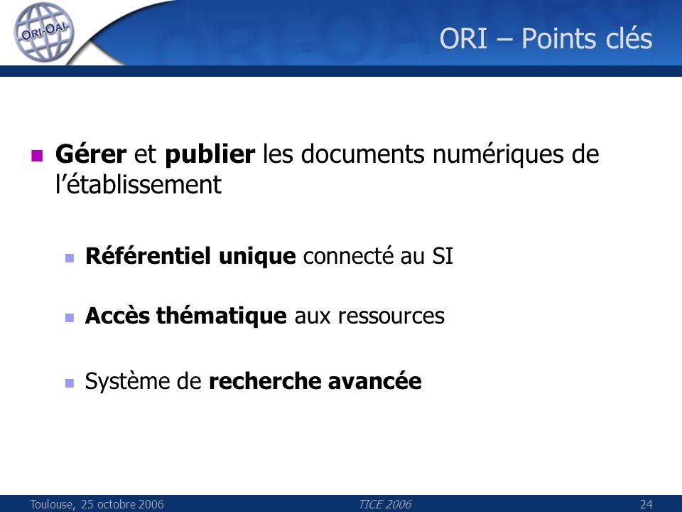 Toulouse, 25 octobre 2006TICE 200624 ORI – Points clés Gérer et publier les documents numériques de létablissement Référentiel unique connecté au SI Accès thématique aux ressources Système de recherche avancée