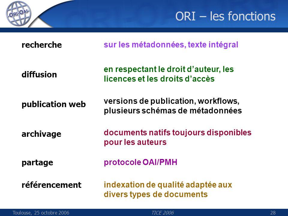 Toulouse, 25 octobre 2006TICE 200628 ORI – les fonctions indexation de qualité adaptée aux divers types de documents sur les métadonnées, texte intégral en respectant le droit dauteur, les licences et les droits daccès versions de publication, workflows, plusieurs schémas de métadonnées documents natifs toujours disponibles pour les auteurs protocole OAI/PMH recherche diffusion publication web archivage référencement partage