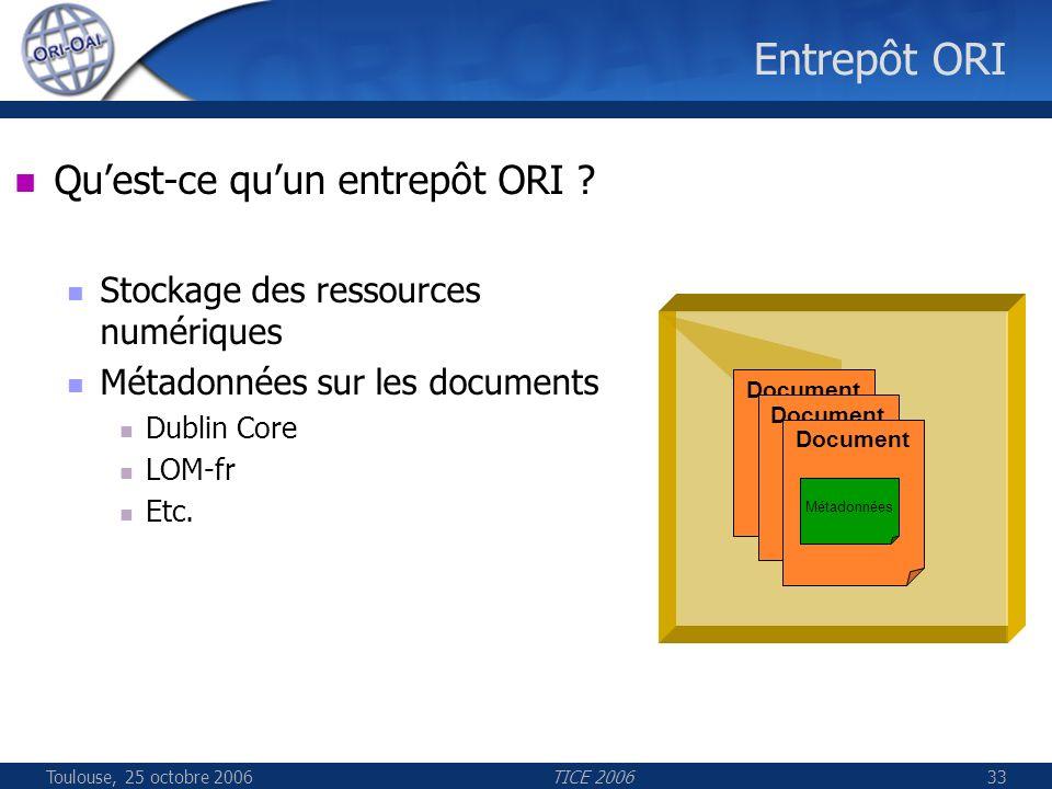 Toulouse, 25 octobre 2006TICE 200633 Entrepôt ORI Document Quest-ce quun entrepôt ORI ? Stockage des ressources numériques Métadonnées sur les documen