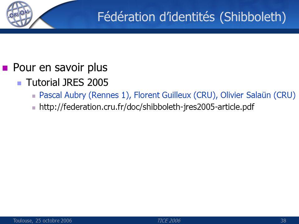 Toulouse, 25 octobre 2006TICE 200638 Fédération didentités (Shibboleth) Pour en savoir plus Tutorial JRES 2005 Pascal Aubry (Rennes 1), Florent Guilleux (CRU), Olivier Salaün (CRU) http://federation.cru.fr/doc/shibboleth-jres2005-article.pdf