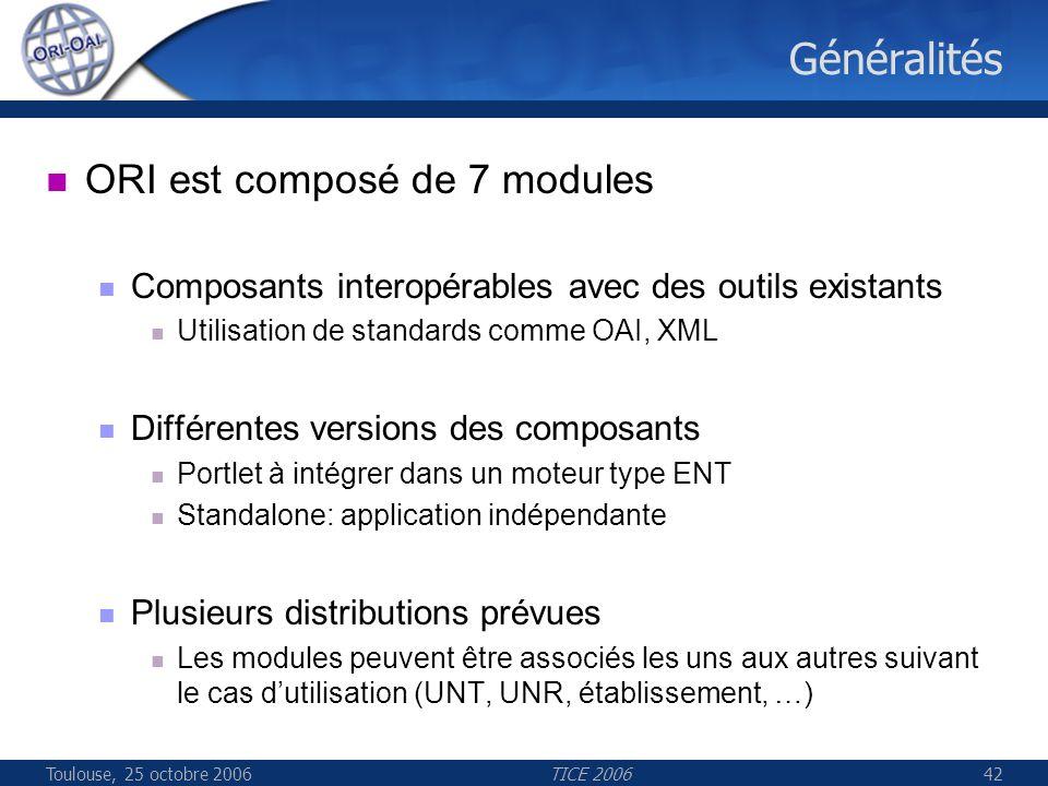 Toulouse, 25 octobre 2006TICE 200642 Généralités ORI est composé de 7 modules Composants interopérables avec des outils existants Utilisation de standards comme OAI, XML Différentes versions des composants Portlet à intégrer dans un moteur type ENT Standalone: application indépendante Plusieurs distributions prévues Les modules peuvent être associés les uns aux autres suivant le cas dutilisation (UNT, UNR, établissement, …)