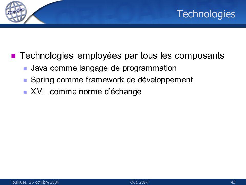 Toulouse, 25 octobre 2006TICE 200643 Technologies Technologies employées par tous les composants Java comme langage de programmation Spring comme framework de développement XML comme norme déchange