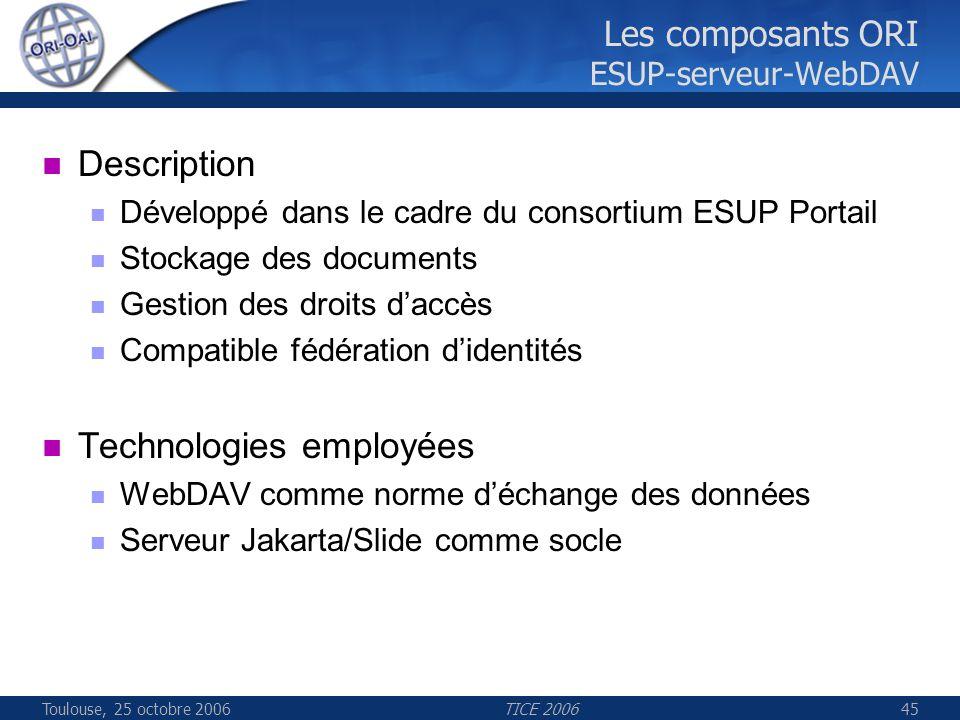 Toulouse, 25 octobre 2006TICE 200645 Les composants ORI ESUP-serveur-WebDAV Description Développé dans le cadre du consortium ESUP Portail Stockage de