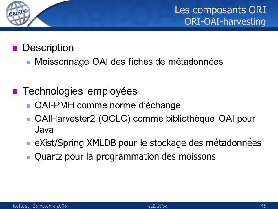Toulouse, 25 octobre 2006TICE 200646 Les composants ORI ORI-OAI-harvesting Description Moissonnage OAI des fiches de métadonnées Technologies employée