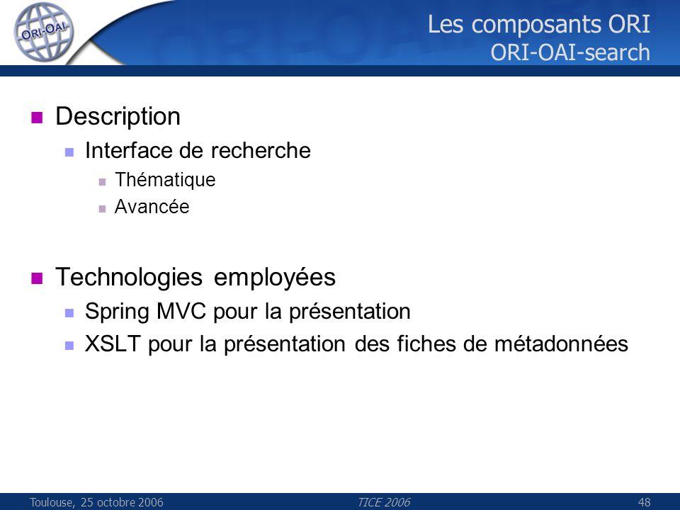Toulouse, 25 octobre 2006TICE 200648 Les composants ORI ORI-OAI-search Description Interface de recherche Thématique Avancée Technologies employées Sp