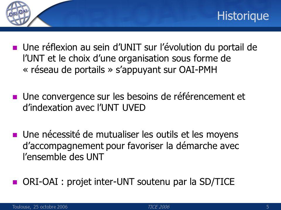 Toulouse, 25 octobre 2006TICE 20065 Historique Une réflexion au sein dUNIT sur lévolution du portail de lUNT et le choix dune organisation sous forme de « réseau de portails » sappuyant sur OAI-PMH Une convergence sur les besoins de référencement et dindexation avec lUNT UVED Une nécessité de mutualiser les outils et les moyens daccompagnement pour favoriser la démarche avec lensemble des UNT ORI-OAI : projet inter-UNT soutenu par la SD/TICE