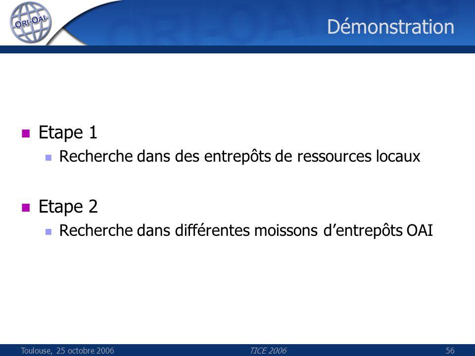 Toulouse, 25 octobre 2006TICE 200656 Démonstration Etape 1 Recherche dans des entrepôts de ressources locaux Etape 2 Recherche dans différentes moisso