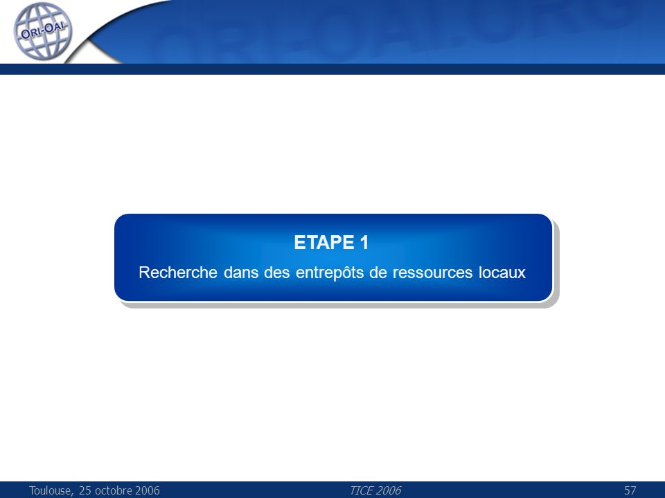 Toulouse, 25 octobre 2006TICE 200657 ETAPE 1 Recherche dans des entrepôts de ressources locaux ETAPE 1 Recherche dans des entrepôts de ressources loca
