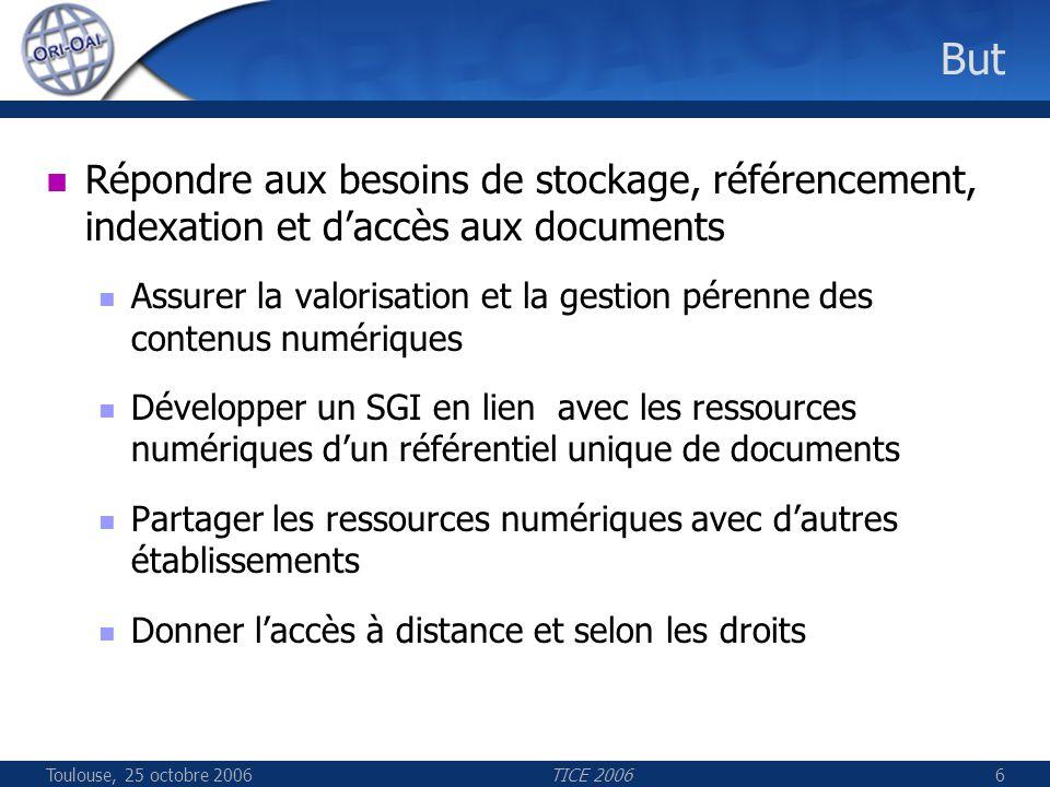 Toulouse, 25 octobre 2006TICE 200647 Les composants ORI ORI-OAI-indexing Description Indexation des fiches de métadonnées provenant de ORI-OAI-workflow ORI-OAI-harvesting Moteur de recherche des fiches de métadonnées Crawler pour lindexation plein texte des documents Technologies employées Lucene comme moteur dindexation et de recherche Lius pour lindexation de plus haut niveau