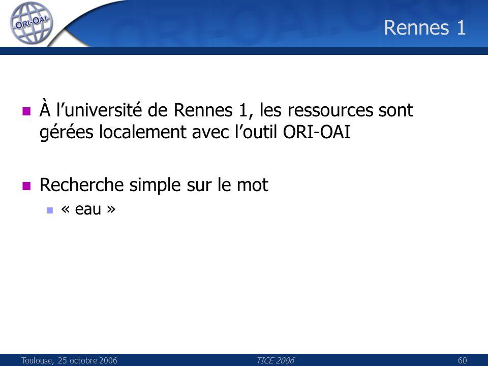 Toulouse, 25 octobre 2006TICE 200660 Rennes 1 À luniversité de Rennes 1, les ressources sont gérées localement avec loutil ORI-OAI Recherche simple su