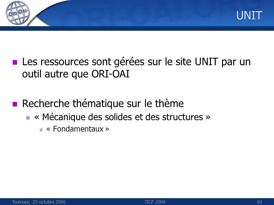 Toulouse, 25 octobre 2006TICE 200662 UNIT Les ressources sont gérées sur le site UNIT par un outil autre que ORI-OAI Recherche thématique sur le thème