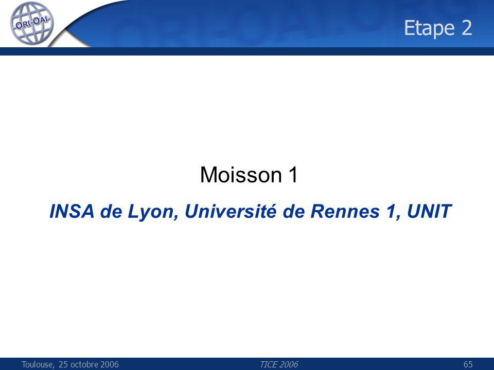 Toulouse, 25 octobre 2006TICE 200665 Etape 2 Moisson 1 INSA de Lyon, Université de Rennes 1, UNIT
