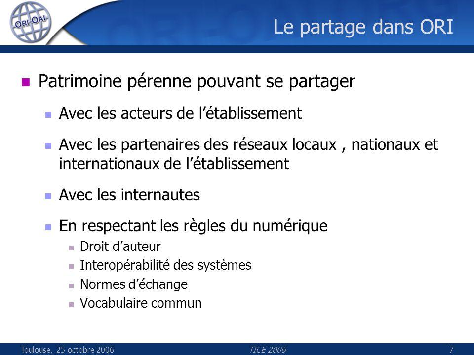Toulouse, 25 octobre 2006TICE 200648 Les composants ORI ORI-OAI-search Description Interface de recherche Thématique Avancée Technologies employées Spring MVC pour la présentation XSLT pour la présentation des fiches de métadonnées