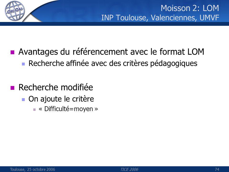 Toulouse, 25 octobre 2006TICE 200674 Moisson 2: LOM INP Toulouse, Valenciennes, UMVF Avantages du référencement avec le format LOM Recherche affinée a
