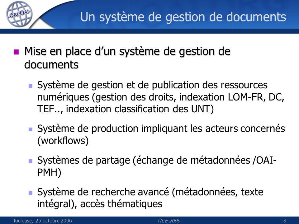 Toulouse, 25 octobre 2006TICE 20068 Un système de gestion de documents Mise en place dun système de gestion de documents Mise en place dun système de gestion de documents Système de gestion et de publication des ressources numériques (gestion des droits, indexation LOM-FR, DC, TEF.., indexation classification des UNT) Système de production impliquant les acteurs concernés (workflows) Systèmes de partage (échange de métadonnées /OAI- PMH) Système de recherche avancé (métadonnées, texte intégral), accès thématiques