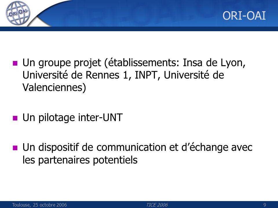 Toulouse, 25 octobre 2006TICE 20069 ORI-OAI Un groupe projet (établissements: Insa de Lyon, Université de Rennes 1, INPT, Université de Valenciennes)