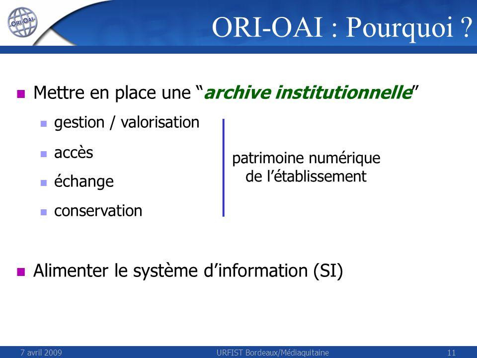 7 avril 2009URFIST Bordeaux/Médiaquitaine11 ORI-OAI : Pourquoi ? Mettre en place une archive institutionnelle gestion / valorisation accès échange con