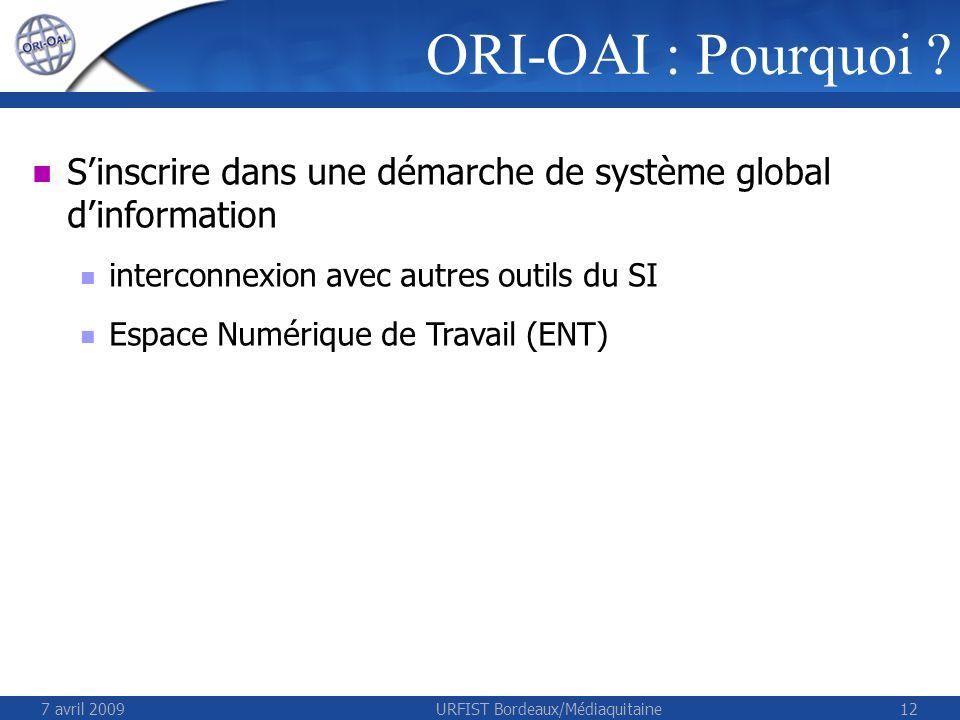 7 avril 2009URFIST Bordeaux/Médiaquitaine12 ORI-OAI : Pourquoi ? Sinscrire dans une démarche de système global dinformation interconnexion avec autres