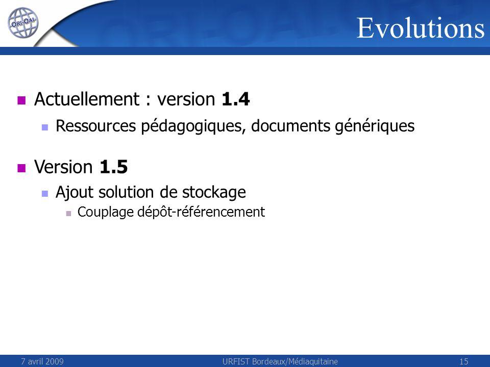 7 avril 2009URFIST Bordeaux/Médiaquitaine15 Evolutions Actuellement : version 1.4 Ressources pédagogiques, documents génériques Version 1.5 Ajout solu