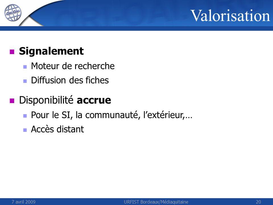 7 avril 2009URFIST Bordeaux/Médiaquitaine20 Valorisation Signalement Moteur de recherche Diffusion des fiches Disponibilité accrue Pour le SI, la communauté, lextérieur,… Accès distant