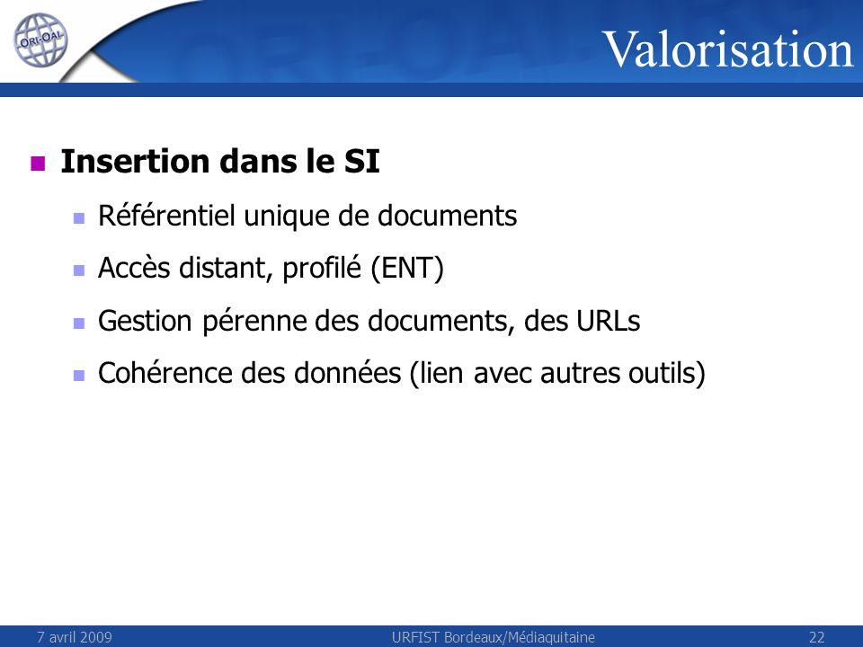 7 avril 2009URFIST Bordeaux/Médiaquitaine22 Valorisation Insertion dans le SI Référentiel unique de documents Accès distant, profilé (ENT) Gestion pérenne des documents, des URLs Cohérence des données (lien avec autres outils)