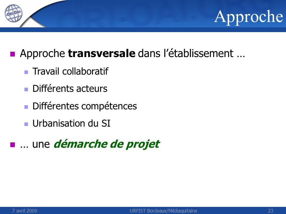 7 avril 2009URFIST Bordeaux/Médiaquitaine23 Approche Approche transversale dans létablissement … Travail collaboratif Différents acteurs Différentes compétences Urbanisation du SI … une démarche de projet