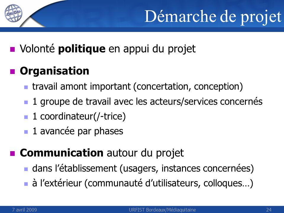 7 avril 2009URFIST Bordeaux/Médiaquitaine24 Volonté politique en appui du projet Organisation travail amont important (concertation, conception) 1 gro