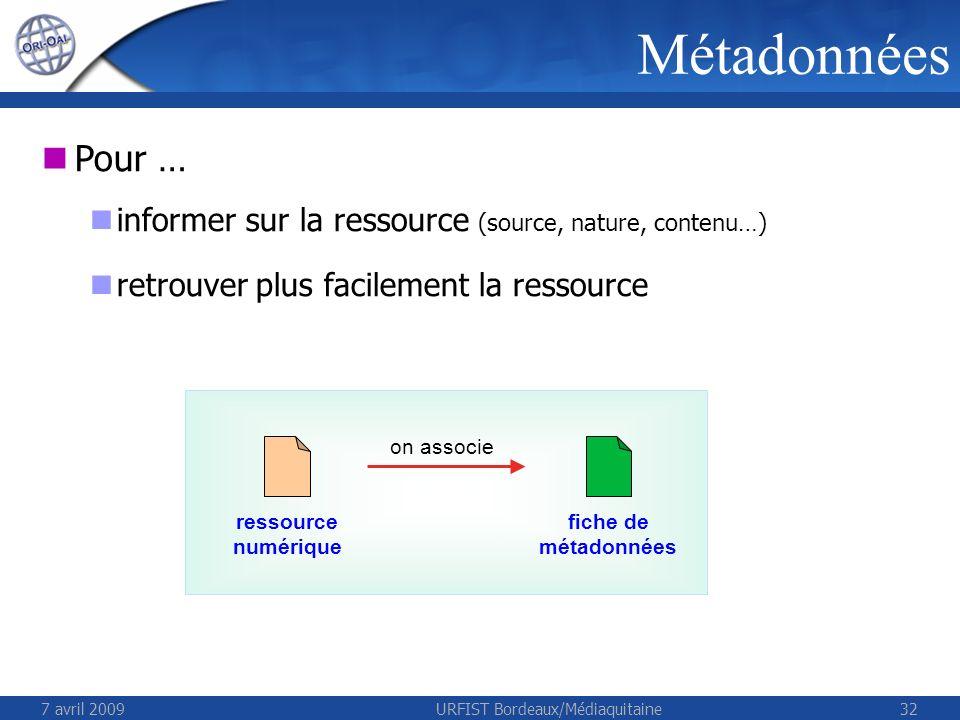 7 avril 2009URFIST Bordeaux/Médiaquitaine32 Métadonnées Pour … informer sur la ressource (source, nature, contenu…) retrouver plus facilement la ressource ressource numérique fiche de métadonnées on associe