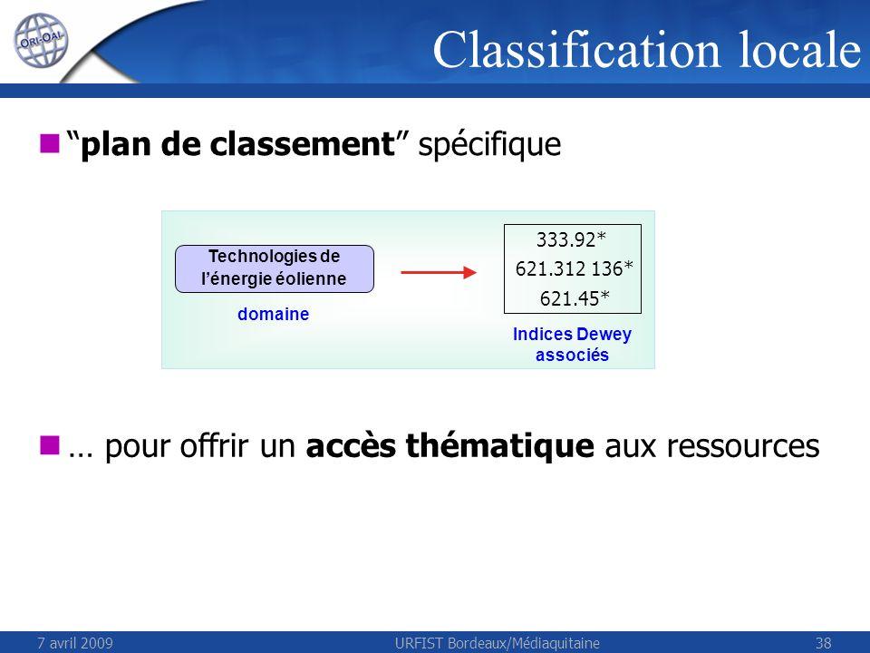 7 avril 2009URFIST Bordeaux/Médiaquitaine38 Classification locale plan de classement spécifique … pour offrir un accès thématique aux ressources Techn