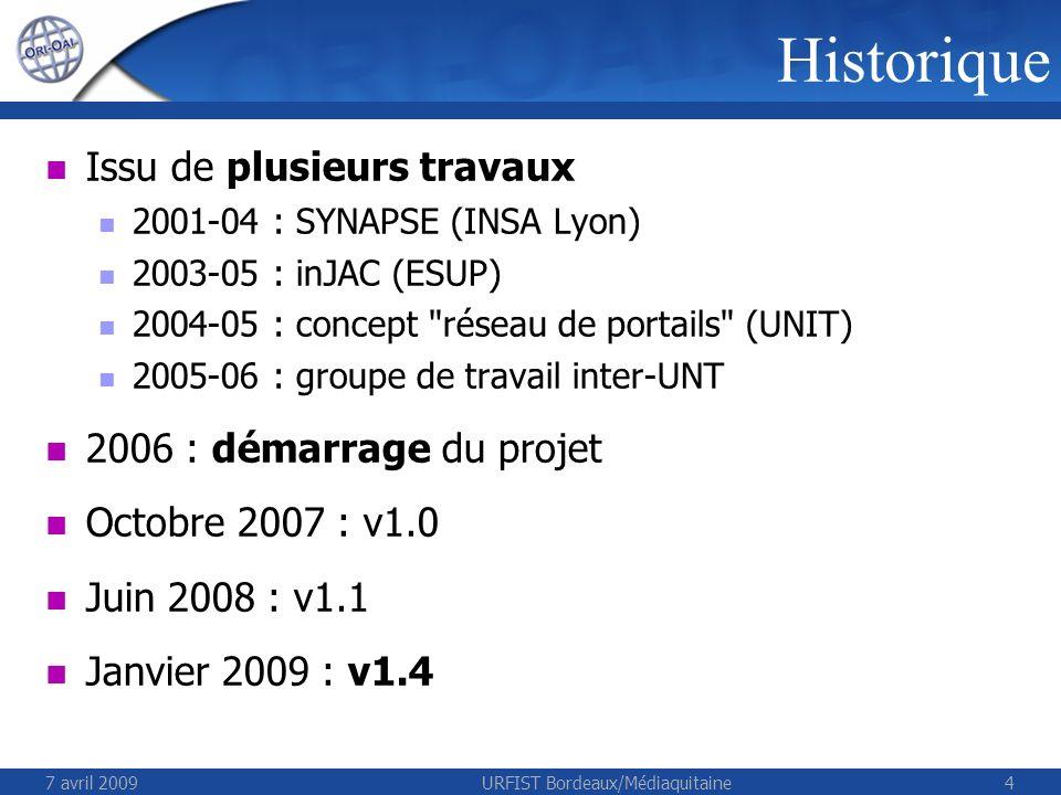 7 avril 2009URFIST Bordeaux/Médiaquitaine55 ORI-OAI Architecture