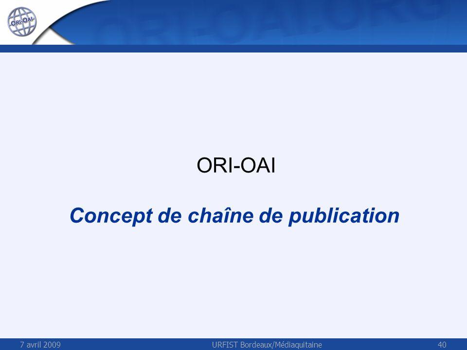7 avril 2009URFIST Bordeaux/Médiaquitaine40 ORI-OAI Concept de chaîne de publication