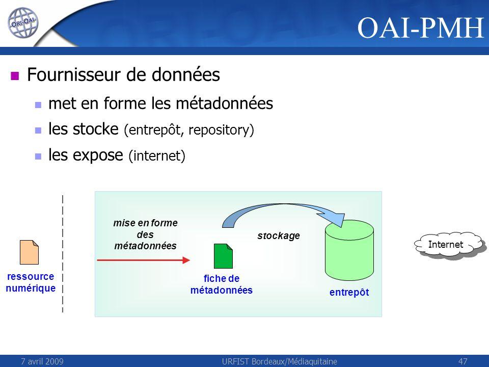 7 avril 2009URFIST Bordeaux/Médiaquitaine47 ressource numérique Fournisseur de données met en forme les métadonnées les stocke (entrepôt, repository) les expose (internet) OAI-PMH fiche de métadonnées mise en forme des métadonnées stockage entrepôt Internet