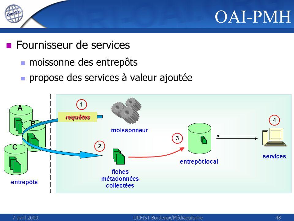 7 avril 2009URFIST Bordeaux/Médiaquitaine48 Fournisseur de services moissonne des entrepôts propose des services à valeur ajoutée OAI-PMH entrepôts A B C entrepôt local requêtes moissonneur fiches métadonnées collectées 1 2 3 services 4