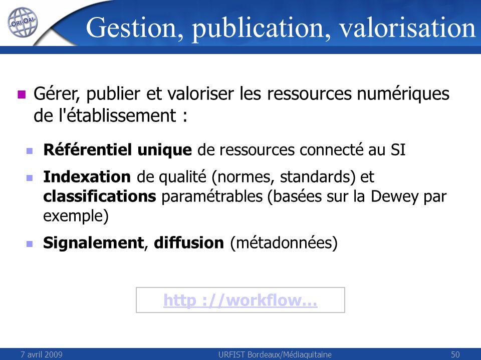 7 avril 2009URFIST Bordeaux/Médiaquitaine50 Gérer, publier et valoriser les ressources numériques de l'établissement : Référentiel unique de ressource