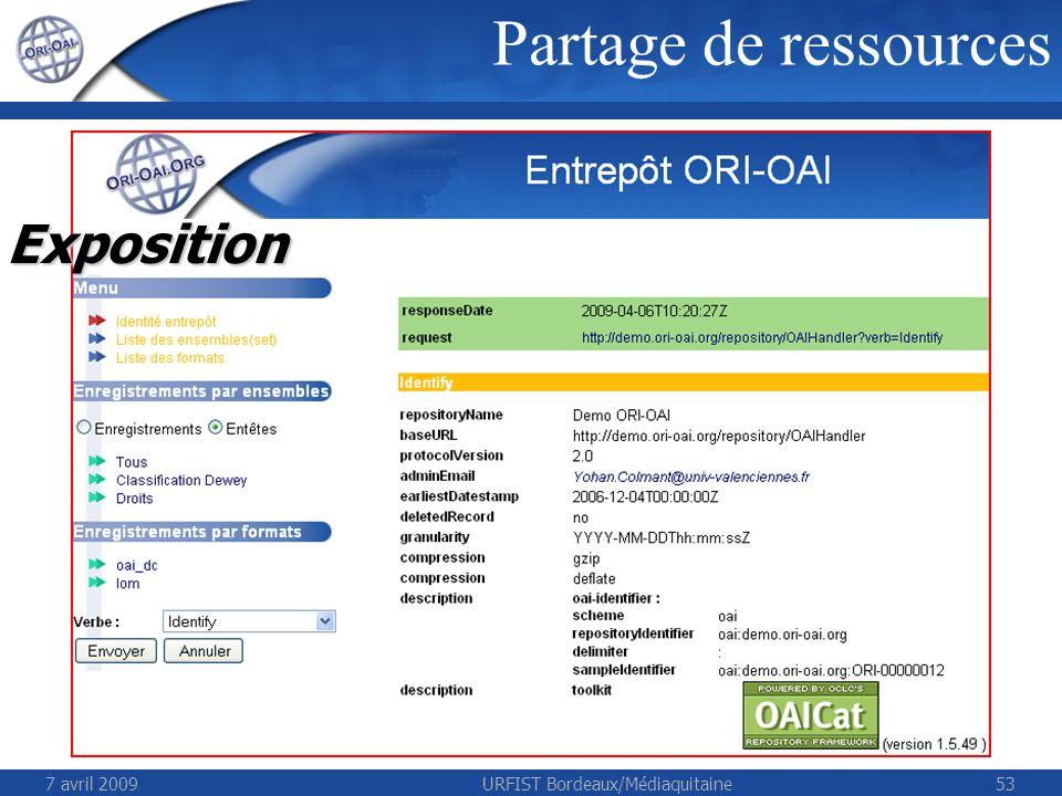 7 avril 2009URFIST Bordeaux/Médiaquitaine53 Partage de ressources Exposition