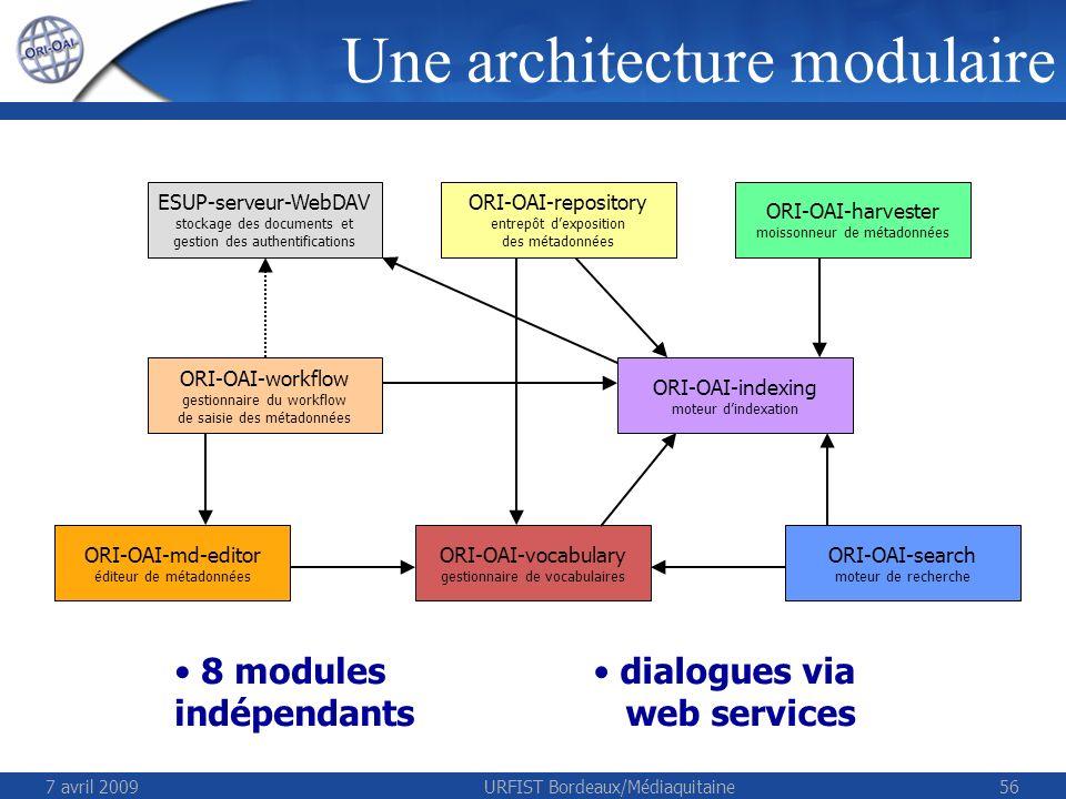 7 avril 2009URFIST Bordeaux/Médiaquitaine56 ESUP-serveur-WebDAV stockage des documents et gestion des authentifications ORI-OAI-repository entrepôt de
