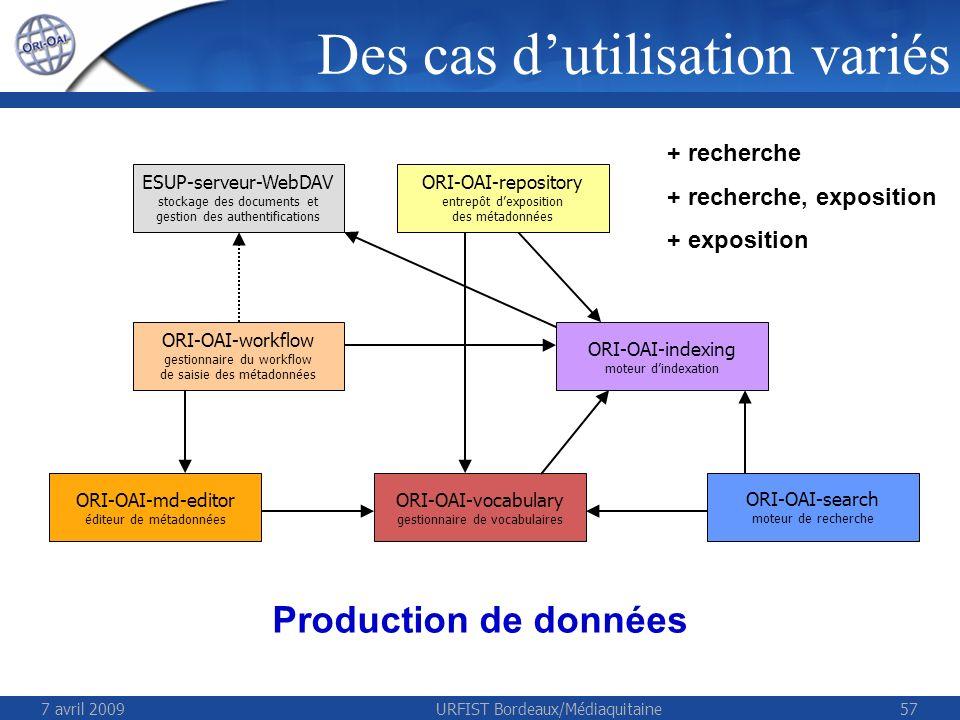 7 avril 2009URFIST Bordeaux/Médiaquitaine57 ESUP-serveur-WebDAV stockage des documents et gestion des authentifications ORI-OAI-repository entrepôt dexposition des métadonnées ORI-OAI-workflow gestionnaire du workflow de saisie des métadonnées ORI-OAI-indexing moteur dindexation ORI-OAI-vocabulary gestionnaire de vocabulaires ORI-OAI-search moteur de recherche + recherche + recherche, exposition + exposition Production de données ORI-OAI-md-editor éditeur de métadonnées Des cas dutilisation variés