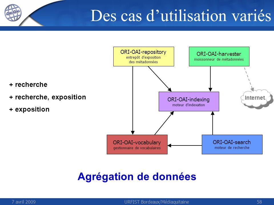7 avril 2009URFIST Bordeaux/Médiaquitaine58 + recherche + recherche, exposition + exposition Internet ORI-OAI-repository entrepôt dexposition des métadonnées ORI-OAI-harvester moissonneur de métadonnées ORI-OAI-vocabulary gestionnaire de vocabulaires ORI-OAI-search moteur de recherche Agrégation de données ORI-OAI-indexing moteur dindexation Des cas dutilisation variés