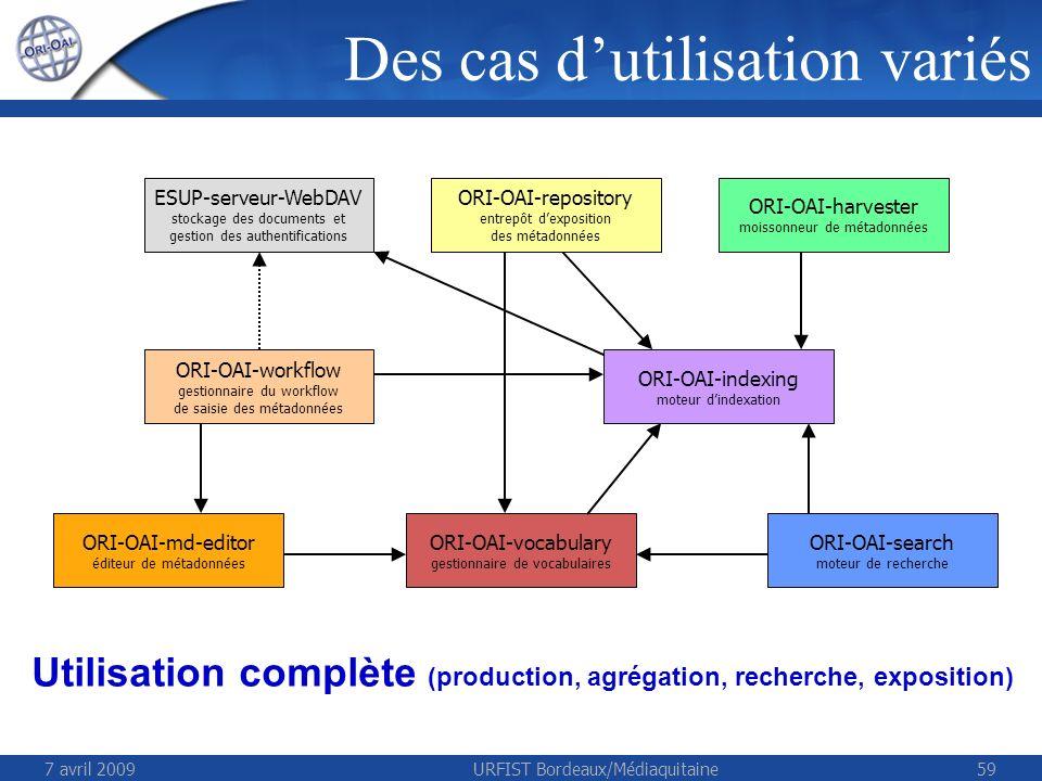 7 avril 2009URFIST Bordeaux/Médiaquitaine59 ESUP-serveur-WebDAV stockage des documents et gestion des authentifications ORI-OAI-repository entrepôt de