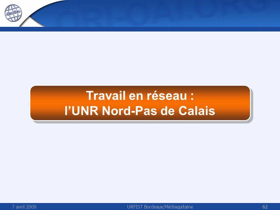 7 avril 2009URFIST Bordeaux/Médiaquitaine62 Travail en réseau : lUNR Nord-Pas de Calais Travail en réseau : lUNR Nord-Pas de Calais