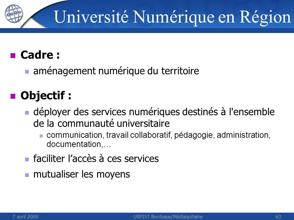 7 avril 2009URFIST Bordeaux/Médiaquitaine63 Cadre : aménagement numérique du territoire Objectif : déployer des services numériques destinés à l'ensem